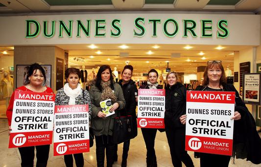 Dunnes employees at St Stephen's Green, from left: Noelle Monaghan, Imelda Fay, Michelle Rossiter, Kelly Johnston, Maja Bilecka, Paula Murray and Joan Daly