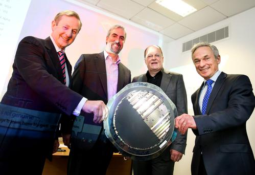 Enda Kenny, Movidius Founders Sean Mitchell and David Moloney, and Richard Bruton at the announcement