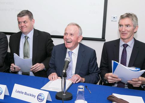 INM chief executive Robert Pitt and chairman Leslie Buckley at yesterday's shareholder meeting.