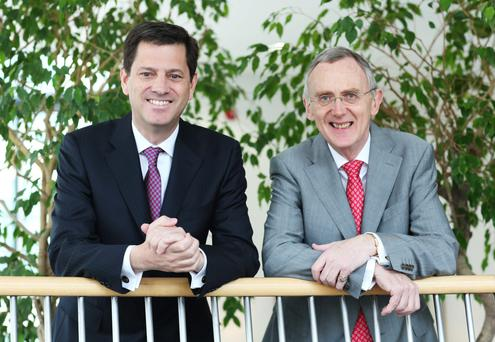 Tony Smurfit and Gary McGann pictured at this morning's Smurfit Kappa AGM