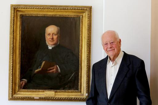 Charles Handy, inventor of the portfolio career, in front of a portrait of his great grandfather, archdeacon Scott. Picture: Elizabeth Handy. Far left, bestselling Handy's latest book, The Second Curve