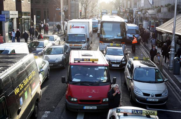 Traffic at a stand- still on Dawson street