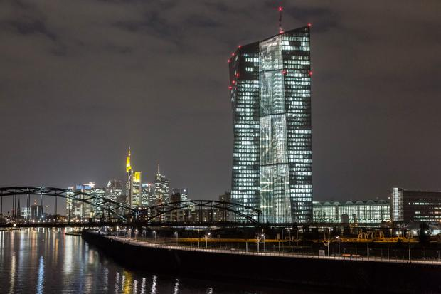 Figures released by the European Central Bank, above, report a rise in borrowing costs for SMEs – while the Department of Finance reports a fall