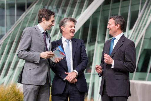 Simon Harris, Junior Minister at the Department of Finance; EU Commissioner Jonathan Hill; and Jonathon Lowey, FIBI chairman and chief financial officer of JP Morgan Ireland, at the FIBI event