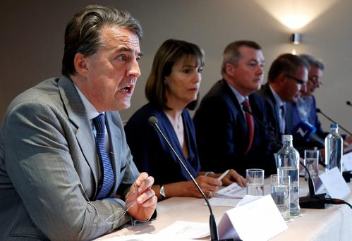 (L-R) Air France-KLM Chief Executive Officer Alexandre de Juniac speaks at a joint news conference with easyJet Chief Executive Officer Carolyn McCall, International Airlines Group Chief Executive Officer Willie Walsh, Lufthansa Chief Executive Officer Car