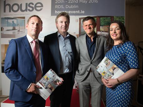 Garret Buckley, managing director of EventHaus, INM group editor-in-chief Stephen, Brendan O'Connor, editor of Life magazine, and Cliona Carroll, sponsorship and events manager at INM, at the launch of House. Photo: Tony Gavin