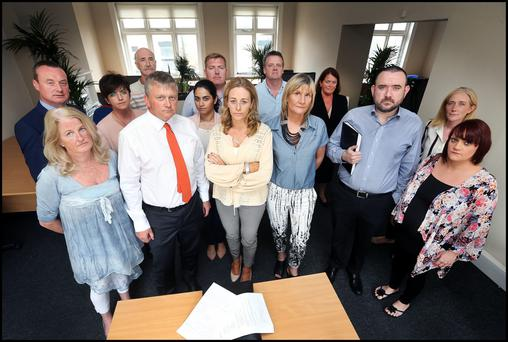 Concession holders and their representatives at a meeting with solicitor Michael Lavelle (front row, second from left) at his office. Photo: Steve Humphreys
