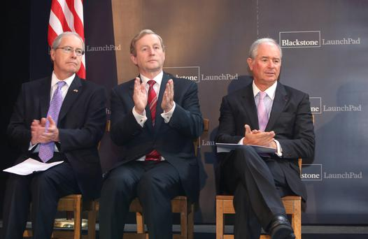 An Taoiseach Enda Kenny T.D. with Blackstone's Chairman, CEO, and Co-Founder Stephen A. Schwarzman, right, at the official launch of Blackstone LaunchPad, the highly successful campus entrepreneurship programme in Ireland. Photo: Damien Eagers