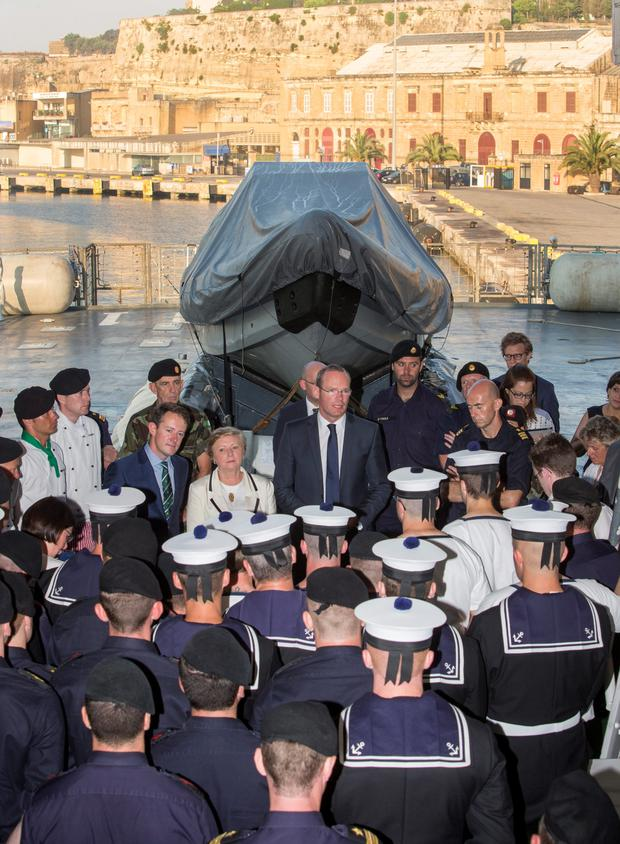 Minister for Defence Simon Coveney with the crew of the LE Eithne in Valetta last week