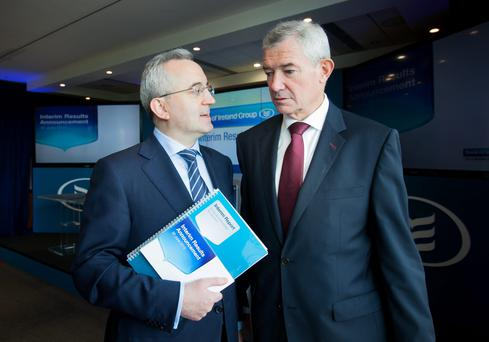 Group chief financial officer Andrew Keating and group chief executive Richie Boucher during Bank of Ireland's Interim Results announcement 2015 at its head office on Mespil Road in Dublin. Photo: Gareth Chaney/Collins