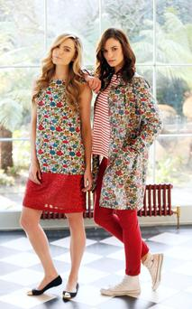 Sarah Morrissey and Karen Fitzpatrick modelling some of the Avoca clothing collections. Photo: Kieran Harnett