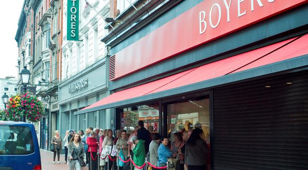 Customers queue for a sales promotion at Boyers recently