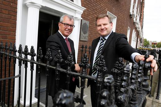 New Ibec President Gerry Collins, vice president of global manufacturing at Janssen, and Ibec CEO Danny McCoy