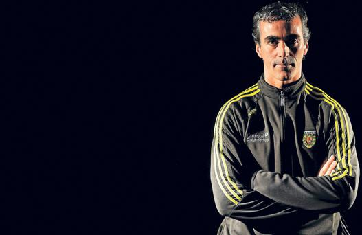 Donegal Football Press Day...25 August 2014; Donegal manager Jim McGuinness during a press day ahead of their GAA Football All-Ireland Senior Championship Semi-Final game against Dublin on Sunday. Donegal Football Press Day, Mount Errigal Hotel, Letterkenny, Co. Donegal. Picture credit: Oliver McVeigh / SPORTSFILE...ABC