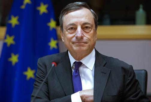 ECB President Mario Draghi in Brussels yesterday