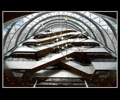Looking up in the lobby at the Convention Centre Dublin on Dublin's North Quay.