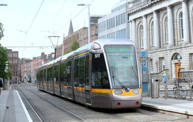 20 May 2015; General view of Luas at St. Stephen's Green stop. St. Stephen's Green, Dublin. Picture: Caroline Quinn