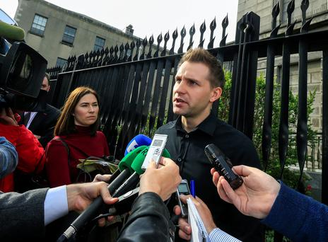 Austrian privacy activist Max Schrems speaks to the media outside the High Court following yesterday's case. Photo: Courtpix