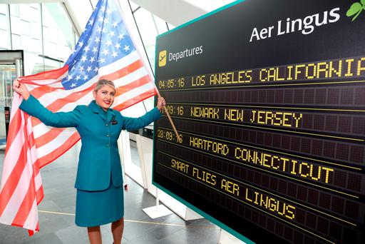 Cabin crew member Michelle Thompson at the Aer Lingus announcement yesterday