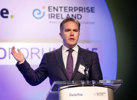 Avolon chief executive Dómhnal Slattery addresses the 2015 Deloitte Enterprise Ireland ceo forum 'Leadership in Growth' in Dublin Castle yesterday. Photo: Robbie Reynolds
