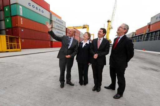 Dublin Port chief executive Eamonn O'Reilly, Dublin Port Company chairperson Lucy McCaffrey, Transport Minister Paschal Donohoe and EIB vice-president Jonathan Taylor yesterday