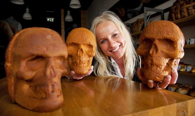 Diana Hrivnakova with Halloween themed breads and cakes in the Donnybrook, Dublin branch. Photo: Paul Sherwood