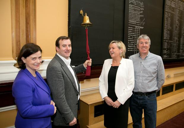 Pictured at the launch of the Hostelworld Group IPO in the Irish Stock Exchange were Mari Hurley, cfo, Hostelworld, Feargal Mooney, ceo, Hostelworld, Deirdre Somers, ceo, Irish Stock Exchange and John O'Donnell, cto of Hostelworld. Photo: Colm Mahady/Fennells