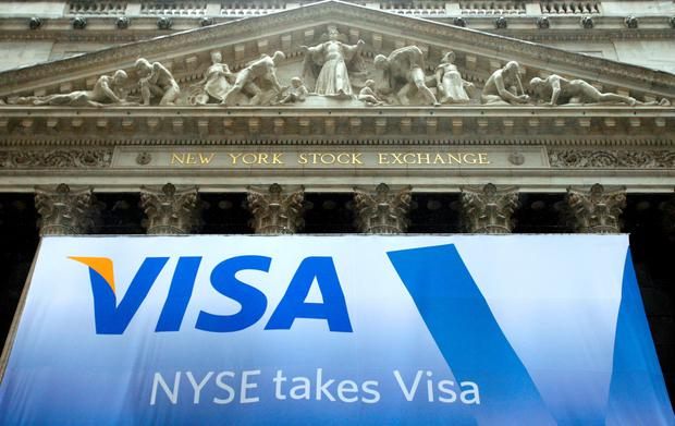 Visa slid by 3.5pc at one stage in New York yesterday