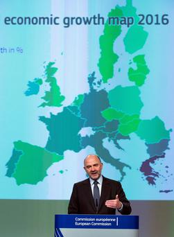 The Commissioner for Economic and Financial Affairs, Taxation and Customs, Pierre Moscovici, gives a press conference to announce the European Union Autumn 2015 Economic Forecast at the Commission headquarters in Brussels. Photo: Reuters