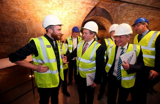 Taoiseach Enda Kenny speaking to Daniel Moran from Castlebar at Dogpatch Labs for the launch of Enterprise 2025