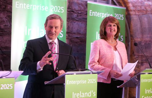 Taoiseach Enda Kenny and Tanaiste Joan Burton at the launch of Enterprise 2025
