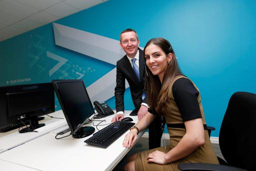 Abtran boss Michael Fitzgerald with Abtran staff member Andrea Woods. Photo: Conor McCabe Photography.