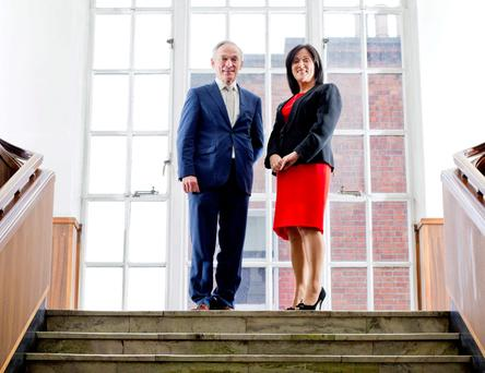 Jobs Minister Richard Bruton with CPL chief executive Anne Heraty at the jobs announcement. Pic: Marc O'Sullivan