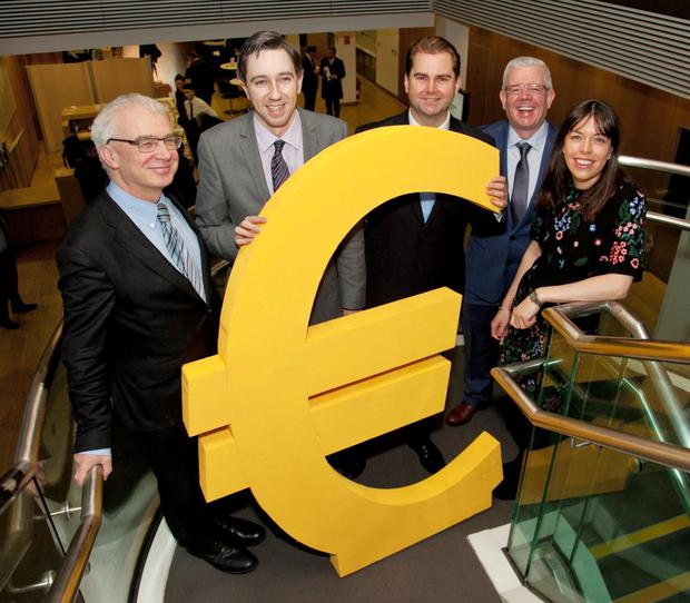 Niall ODonnellan, head of investment service, Enterprise Ireland; Junior Finance Minister Simon Harris; John Power, chairman IFPI; Natalya Kane, financial controller, KC Peaches. Photo: Paul Sherwood.