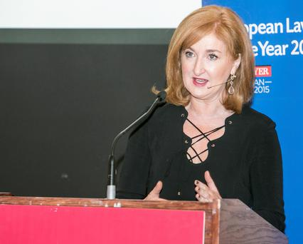 Businesswoman Lucy Gaffney spearking at the WXN Women's Executive Network event