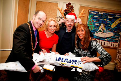 Ryanair CEO Michael O'Leary with, from left, Greg Clarke, president of the Dublin Chamber of Commerce, Anne O'Leary, CEO of Vodafone, and Gina Quin, CEO of the Dublin Chamber