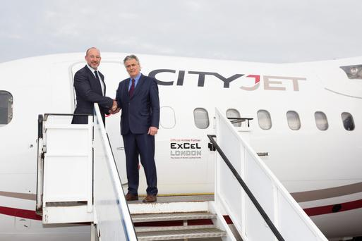 cityjet excel deal december 14 2015 David pegler, CEO Excel London (left) and pat byrne, executive chairman cityjet on right.