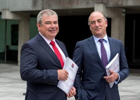 Chief financial officer Mark Bourke, right, with AIB boss Bernard Byrne. Photo: Mark Condren