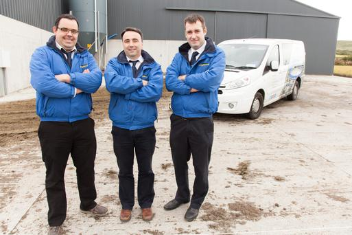 Sean Leahy, John Collins and Martin Lynch, members of the Dairymaster Technology Service team, pictured at the jobs drive announcement yesterday