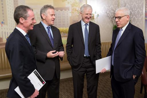 At the Davy Equity Conference in New York were Brian McKiernan of Davy Group, Stan McCarthy of Kerry Group, Kyran McLaughlin of Davy, and David Rubenstein of The Carlyle Group.