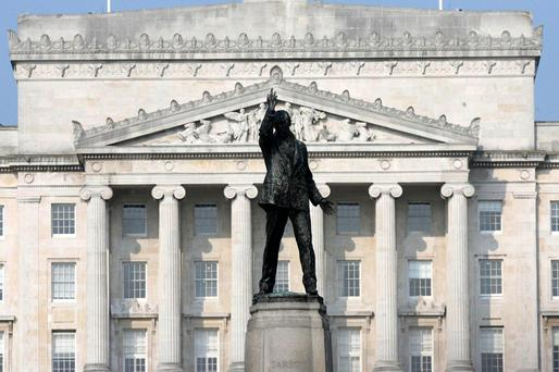 The Statue of Sir Edward Carson looks out on the grounds of Stormont. Photo: PA