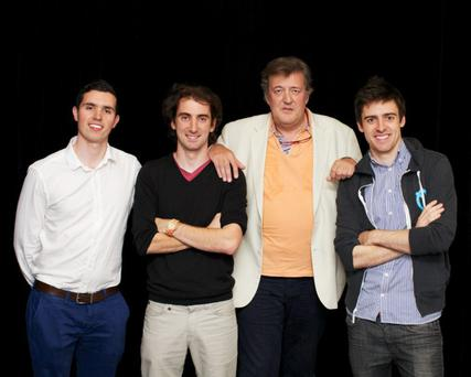 British personality Stephen Fry with Soundwave's team at the startup's launch