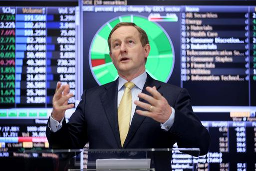 Taoiseach Enda Kenny at the official opening of Credit Suisse's first trading floor in Dublin. Photo: Conor McCabe