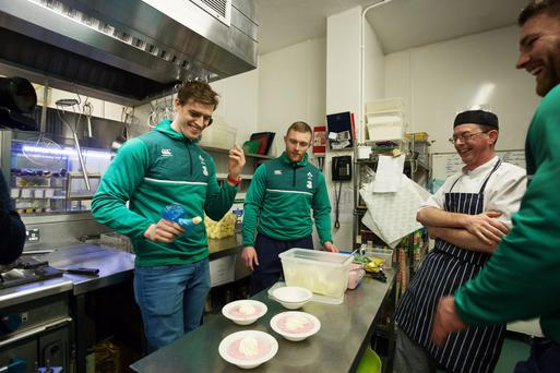 Rugby stars Andrew Trimble, Keith Earls and Sean O'Brien at the Focus Ireland coffee shop on Eustace Street in Dublin yesterday. Photo: 1Image/Bryan Brophy