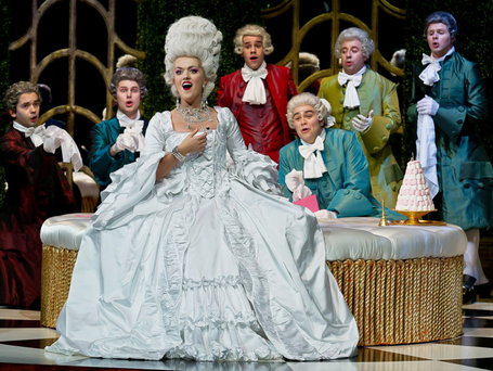 Claudia Boyle as La Comtesse with the cast in 'La Cour de Celimene' by Ambroise Thomas at Wexford Festival Opera, Photo: Clive Barda
