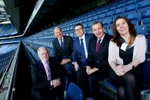Paschal McCarthy, president of Irish Exporters Association, Ambassador Dominick Chilcott, Tom Hall, AIB, Simon McKeever, chief executive, Irish Exporters Association, and Nicola Byrne, Cloud 90, in Dublin yesterda