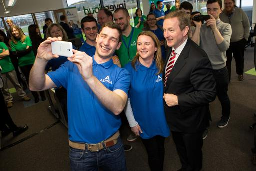 Arron Keenan, Emma Daly from Aspira with An Taoiseach Enda Kenny at the announcement of 50 new Irish, high-tech jobs at the enterprise IT firm