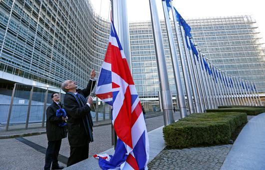 A Union flag is raised ahead of the visit by Britain's Prime Minister David Cameron to the European Commission in Brussels. Photo: Reuters