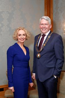 Vodafone CEO Anne O'Leary pictured with Derry Gray, Partner, BDO and President of Dublin Chamber of Commerce for 2016