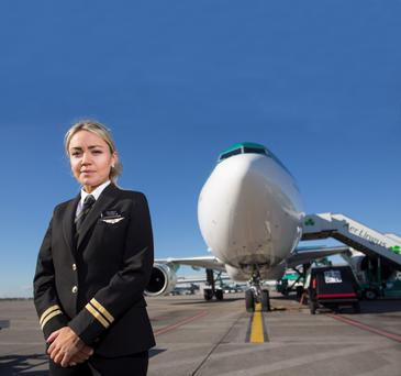 Sky high: Lisa Cusack, a cadet training to be a pilot with Aer Lingus. Photo: Fergal Phillips